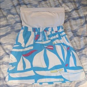 Lilly Pulitzer Strapless Boat Patterned Dress